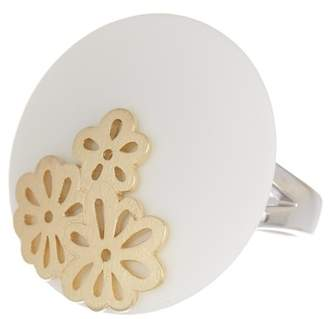 Breuning Two-Tone Gold Plated Sterling Silver White Corian Flower Inlay Circle Ring