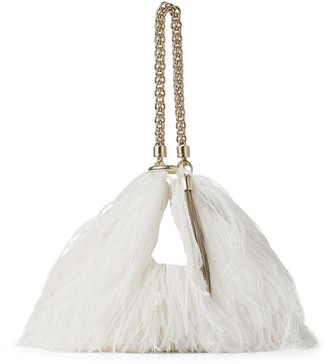 Jimmy Choo CALLIE Latte Leather Clutch Bag with Ostrich Feather