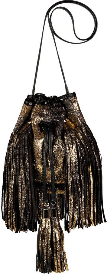 Sara Battaglia Navy/Gold/Black Leather Drawstring Shoulder Bag