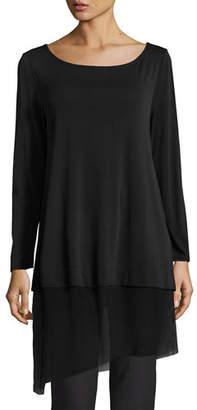 Eileen Fisher Bateau-Neck Layered Tunic w/ Asymmetric Sheer Hem, Plus Size