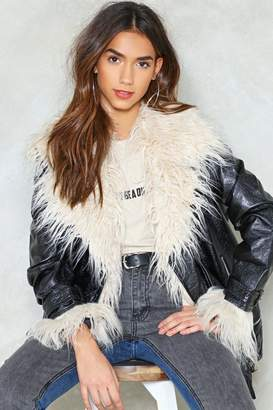 Nasty Gal Fur-St Come Fur-St Served Faux Fur Moto Jacket