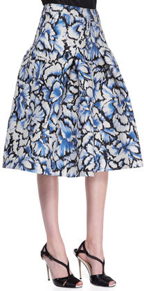 Carolina Herrera Flared Feather Floral Skirt, Ivory/Black/Blue
