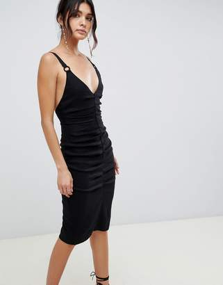 Bec & Bridge rouched midi dress with hardware detailing