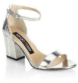 Sergio Rossi Leah Leather Metallic Block Heel Sandals