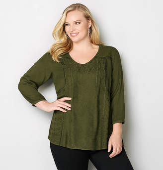 Avenue Embroidered V-Neck Top