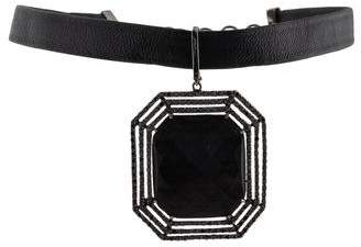 Shawn Warren 18K Ebony & Diamond Choker Pendant Necklace