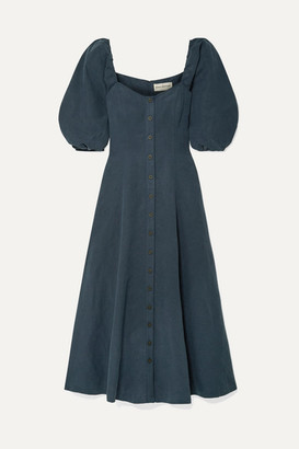 Mara Hoffman Net Sustain Mika Tencel And Linen-blend Maxi Dress - Navy