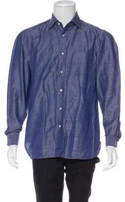 Borrelli Linen Chambray Iridescent Button Shirt