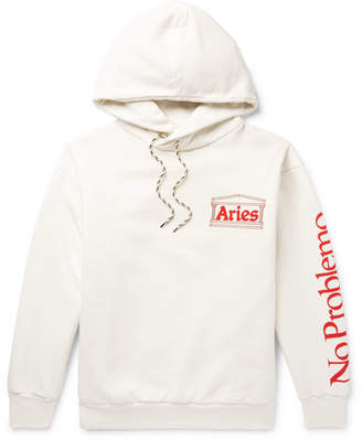 Aries Logo-Print Cotton-Jersey Hoodie - White