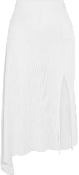 Cushnie Et OchsCushnie et Ochs - Asymmetric Ribbed-knit Midi Skirt - White
