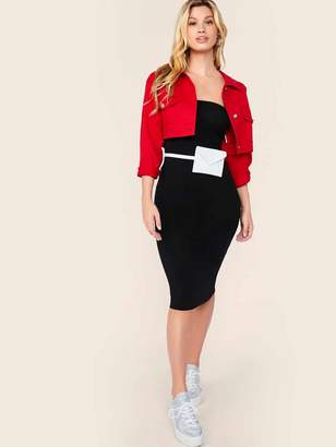 Shein Form Fitted Tube Solid Dress