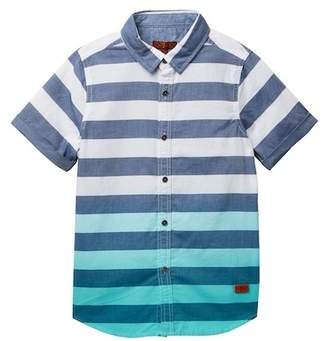 7 For All Mankind Short Sleeve Woven Stripe Shirt (Big Boys)