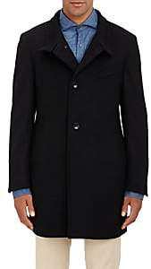 Piattelli Men's Stand-Collar Melton Coat-Black
