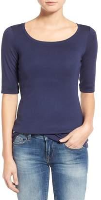 Caslon Ballet Neck Cotton & Modal Knit Elbow Sleeve Tee (Regular & Petite)