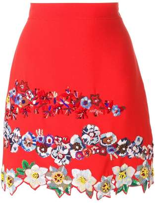 MSGM floral embroidery A-line skirt