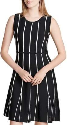 Calvin Klein Striped Mesh Godet Dress