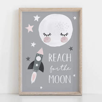 Rory & The Bean Reach For The Moon Children's Nursery Print
