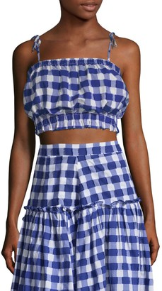 MDS Stripes Gingham Cropped Cotton Cami