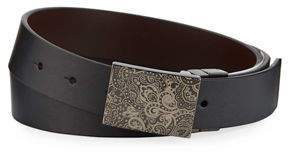 Robert Graham Men's Holmes Paisley-Etched Buckle Leather Belt