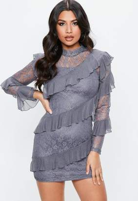 Missguided Grey Lace Long Sleeve Frill High Neck Shift Dress, Blue