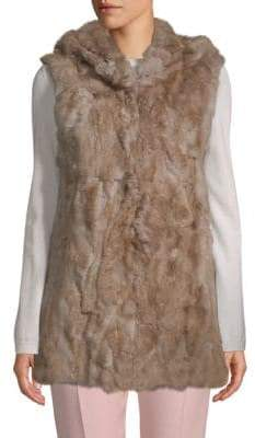 Adrienne Landau Hooded Rabbit Fur Vest