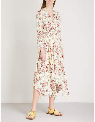 Maje Rayine floral-print crepe dress