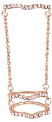 Xo X & O 14KT Rose Gold Plated Wave Double Chain Ring ***
