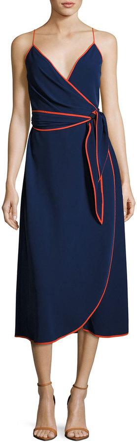 Tory Burch Grotto Contrast-Trim Wrap Slip Dress, Navy 3