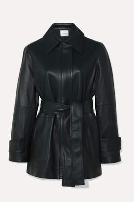 Vince Belted Leather Coat - Emerald