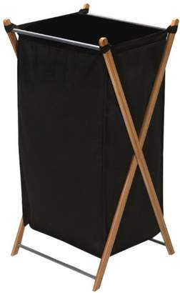 Household Essentials 6540-1 Collapsible Bamboo X-Frame Laundry Hamper   Bamboo Frame with Black Canvas Bag