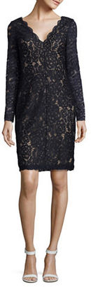 Vera Wang Long Sleeve V-Neck Lace Overlay Dress $258 thestylecure.com