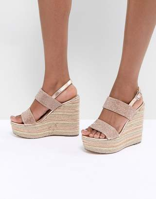 Asos Design DESIGN Teoni High Metallic Espadrille Wedges