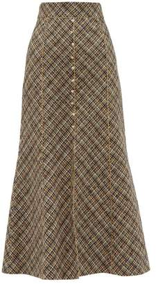 Peter Pilotto High Rise Tweed Midi Skirt - Womens - Gold Multi