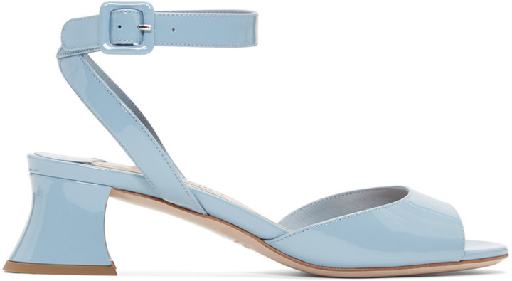 Miu Miu Blue Patent Leather Heeled Sandals