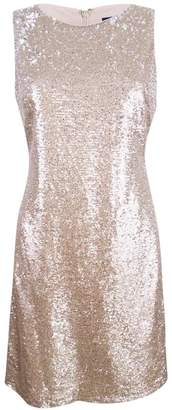 Tommy Hilfiger Womens Sequined Two-Toned Cocktail Dress Beige