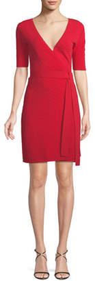 Diane von Furstenberg Shot-Sleeve Sweater Wrap Dress