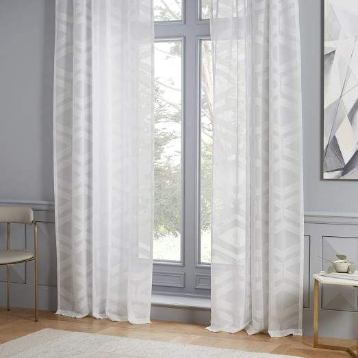 Semi-Sheer Clipped Jacquard Curtain - Stone White