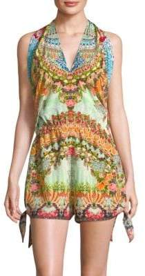 From Rio With Love Printed Tie Playsuit