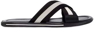 Bally Rubber Sandals W/ Web Crisscross Straps