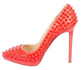 Christian Louboutin Patent Leather Spiked Pumps Neon Patent Leather Spiked Pumps