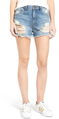 Women's Sun & Shadow Ripped High Rise Denim Shorts $55 thestylecure.com