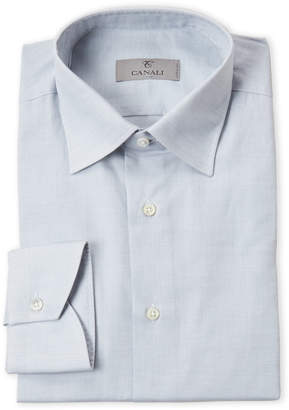 Canali Light Grey Solid Dress Shirt