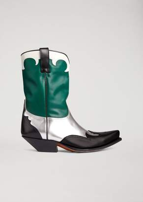 Emporio Armani Leather Campero Boots With Metal Inserts