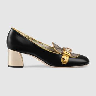 Gucci Leather and GG Supreme mid-heel pump