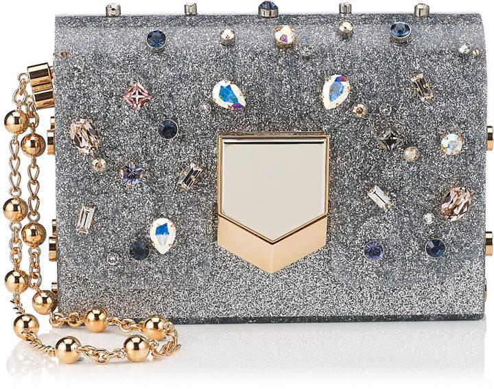 LOCKETT MINAUDIERE Silver Glitter Acrylic Clutch Bag with Multi Coloured Crystals