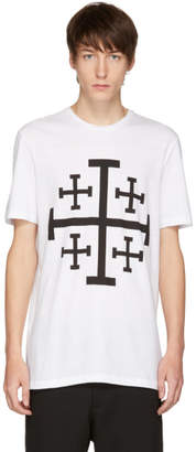 Neil Barrett White Jerusalem Cross T-Shirt