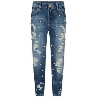 GUESS GuessGirls Blue Distressed Denim Jeans With Pearls