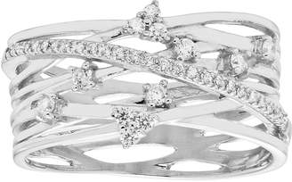 Swarovski Diamond Splendor Sterling Silver Cubic Zirconia Crisscross Multi Row Ring