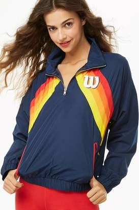 Forever 21 Wilson Striped-Front Logo Windbreaker
