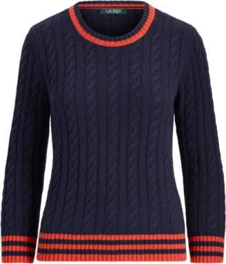 Ralph Lauren Stripe-Trim Cable-Knit Jumper